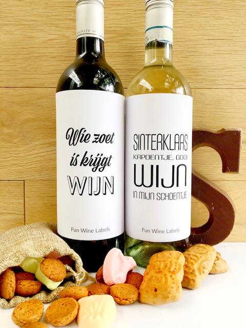Sinterklaas Etiketten van Fun Wine Labels en Mama Drinkt Wijn